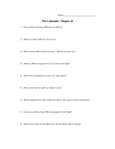The Contender: Chapter 14 Worksheet
