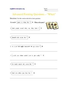"Advanced Forming Questions – ""When"" Worksheet"