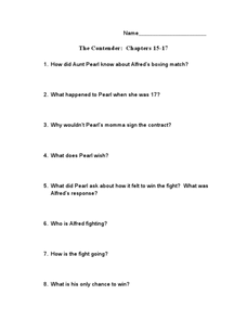 The Contender: Chapters 15-17 Worksheet
