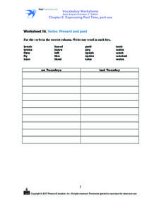 Vocabulary Worksheets Basic English Grammar, 3rd Edition  Chapter 8: Expressing Past Time Part One Worksheet