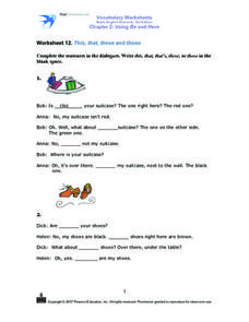 Worksheet 12: This, That, These and Those Worksheet