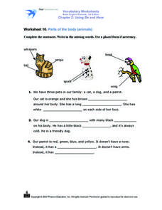 Parts of the Body (Animals) Worksheet 10 Worksheet