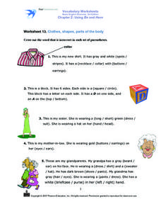 Worksheet 13: Clothes, Shapes, Parts of the Body Worksheet