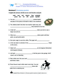 Count / Noncount Nouns and Articles Worksheet