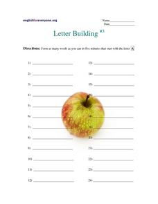 Letter Building #3-  Words That Begin With Letter A Worksheet