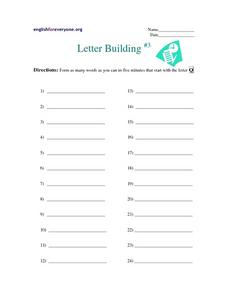 Letter Building #3 Worksheet