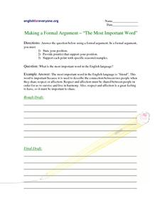 "Making a Formal Argument - ""The Most Important Word"" Worksheet"
