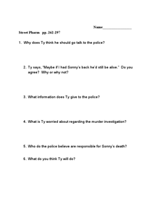 Street Pharm pp. 262-297 Worksheet