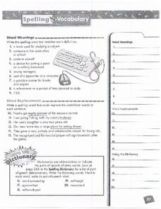 Spelling and Vocabulary Page 27 Worksheet