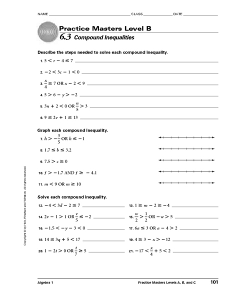 6.3 Compound Inequalities Worksheet