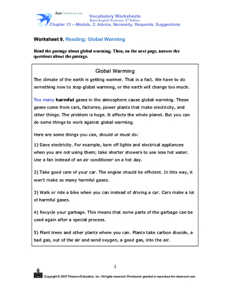 Worksheet 9 Reading Global Warming Worksheet For 4th