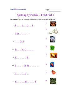 Spelling by Picture - Foods Worksheet