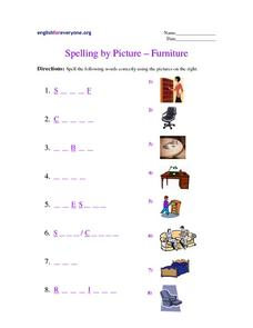Spelling by Picture - Furniture Worksheet