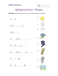 Spelling by Picture - Weather Worksheet