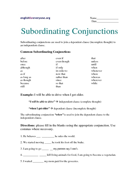 Subordinating Conjunctions Worksheet - carolinabeachsurfreport