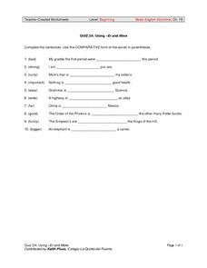 Using -er and more, -er suffix/more Worksheet