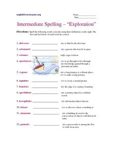"Intermediate Spelling- ""Exploration"" Worksheet"