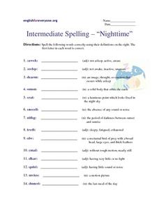 "Intermediate Spelling- ""Nighttime"" Worksheet"