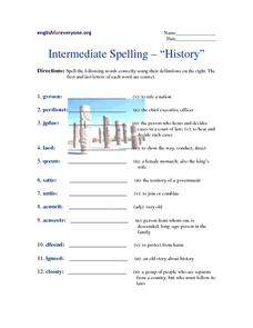 "Intermediate Spelling-- ""History"" Worksheet"