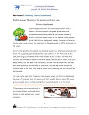 Reading: Johnny Appleseed Worksheet