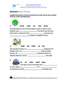 Vocabulary Worksheets Basic Grammar 3rd Edition Chapter 8:  Expressing Past Times Part One Worksheet