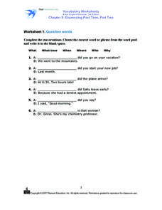 Worksheet 1: Question Words Worksheet