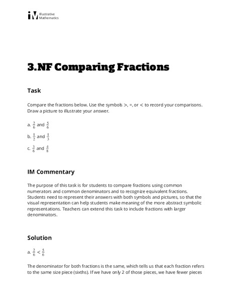 Comparing Fractions Activities & Project