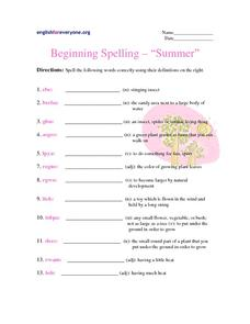 Beginning Spelling - Summer Worksheet