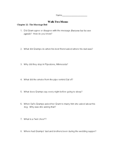 Walk two moons worksheets