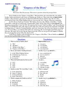Empress of the Blues Worksheet