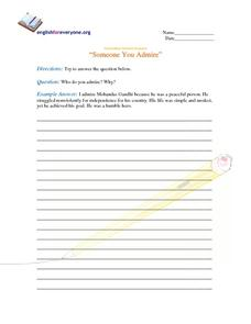 "Question Response - ""Someone You Admire"" Worksheet"