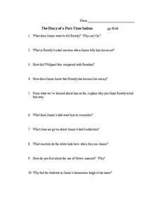 The Diary of a Part-Time Indian Pages 48-66 Worksheet