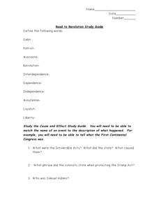 Road to Revolution Study Guide Worksheet