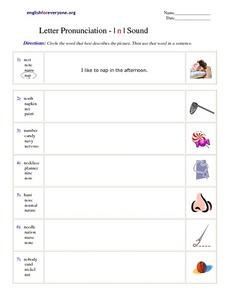 Letter Pronunciation -- /N/ Sound Worksheet