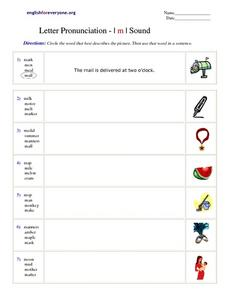 Letter Pronunciation- | m | Sound Worksheet