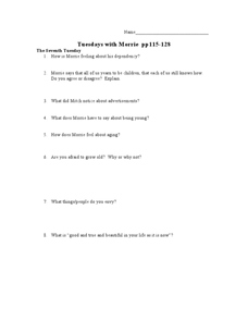 Tuesdays with Morrie pp115-128 Lesson Plan