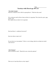 Tuesdays with Morrie pp 100-114 Lesson Plan