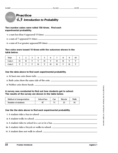 4 3 introduction to probability worksheet for 8th 10th grade lesson planet. Black Bedroom Furniture Sets. Home Design Ideas