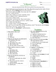 "Reading and Vocabulary Comprehension: ""A Mystery"" Worksheet"