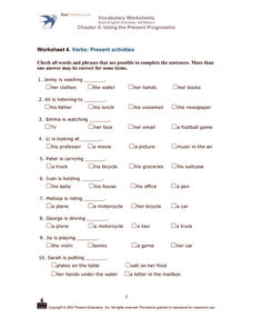 Verbs: Present Activities Worksheet