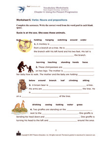 Verbs: Nouns and Prepositions Worksheet