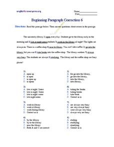 Beginning Paragraph Correction #6 Worksheet