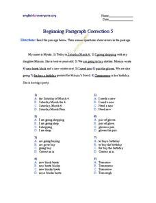 3rd grade paragraph correction worksheets