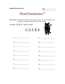 Word Construction #1 Worksheet