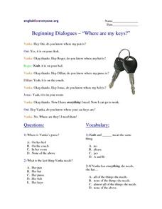 "Beginning Dialogues-- ""Where Are My Keys?"" Worksheet"