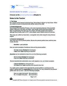 Never Been to Spain, A Lesson on the Present Perfect Tense Worksheet