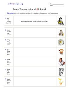 Letter Pronunciation - d sound Worksheet