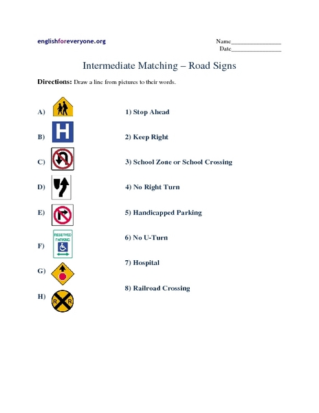 Intermediate Matching – Road Signs Worksheet for 6th