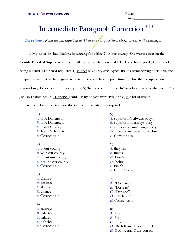 Intermediate Paragraph Correction 10 Worksheet For 3rd