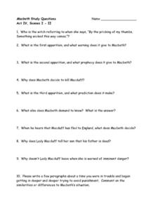 Macbeth Study Questions, Act IV, Scenes I-II Worksheet